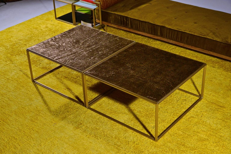 Minimalist Brass Low Table, Hand Cast Polished Bronze Top, One of a kind by P. Tendercool For Sale