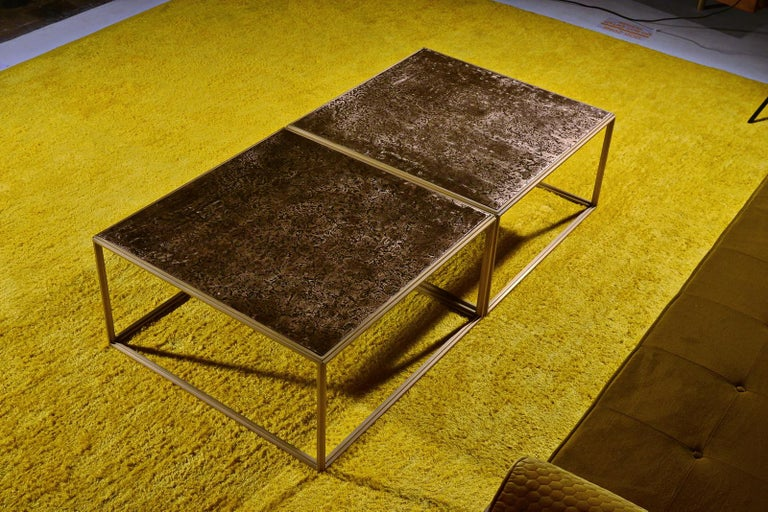 Brass Low Table, Hand Cast Polished Bronze Top, One of a kind by P. Tendercool In New Condition For Sale In Bangkok, TH