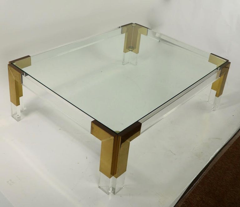 Brass Lucite and Glass Coffee Table after Charles Hollis Jones For Sale 4