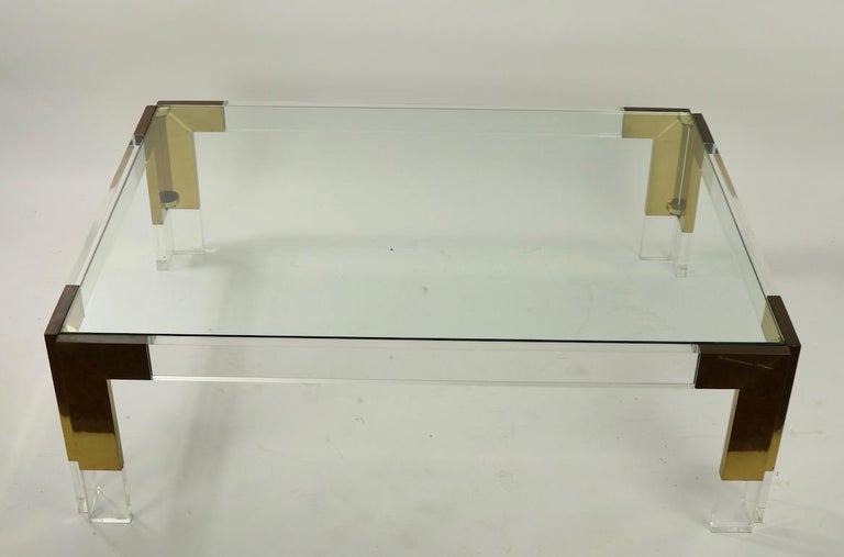 Brass Lucite and Glass Coffee Table after Charles Hollis Jones For Sale 6