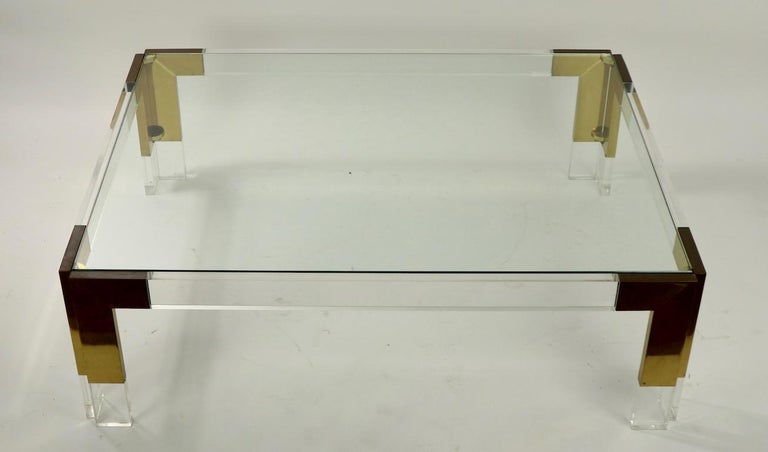 Brass Lucite and Glass Coffee Table after Charles Hollis Jones For Sale 7
