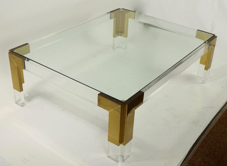 Brass Lucite and Glass Coffee Table after Charles Hollis Jones For Sale 8
