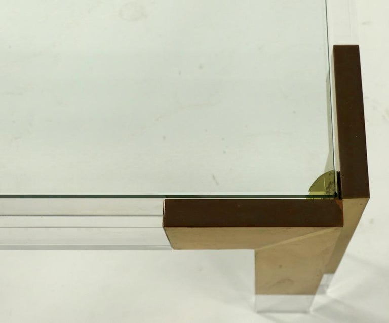 American Brass Lucite and Glass Coffee Table after Charles Hollis Jones For Sale