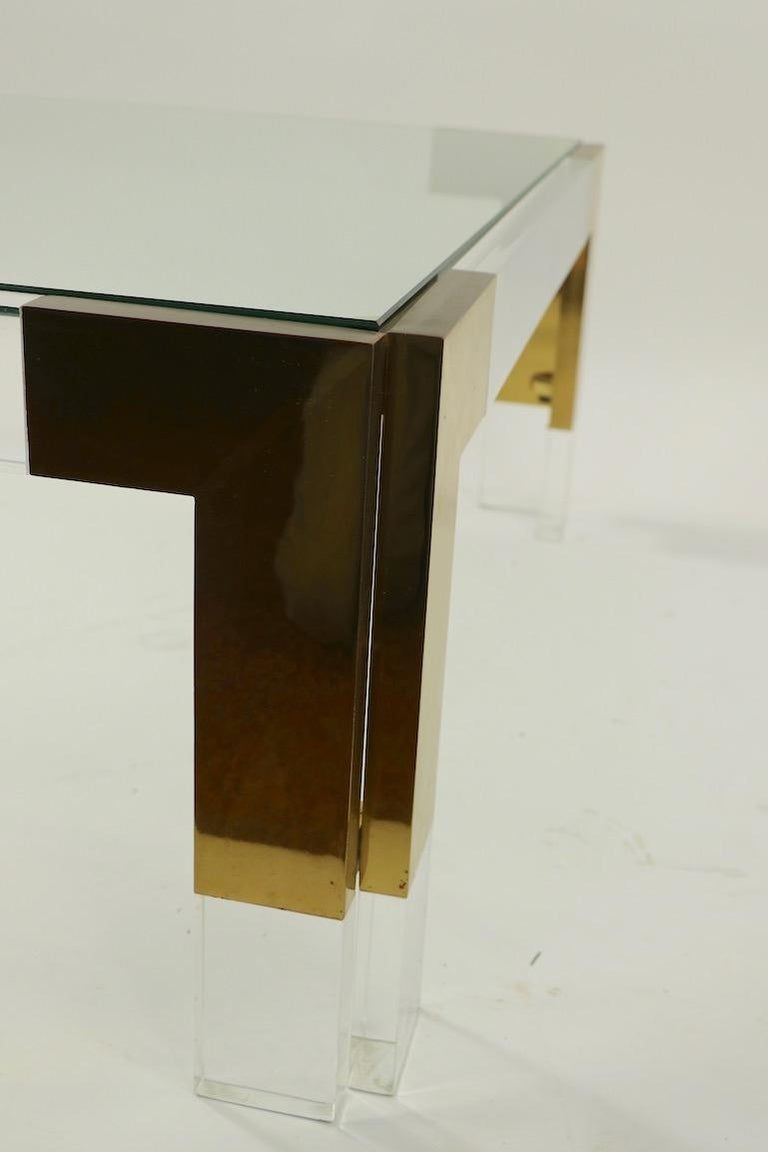 Brass Lucite and Glass Coffee Table after Charles Hollis Jones In Good Condition For Sale In New York, NY