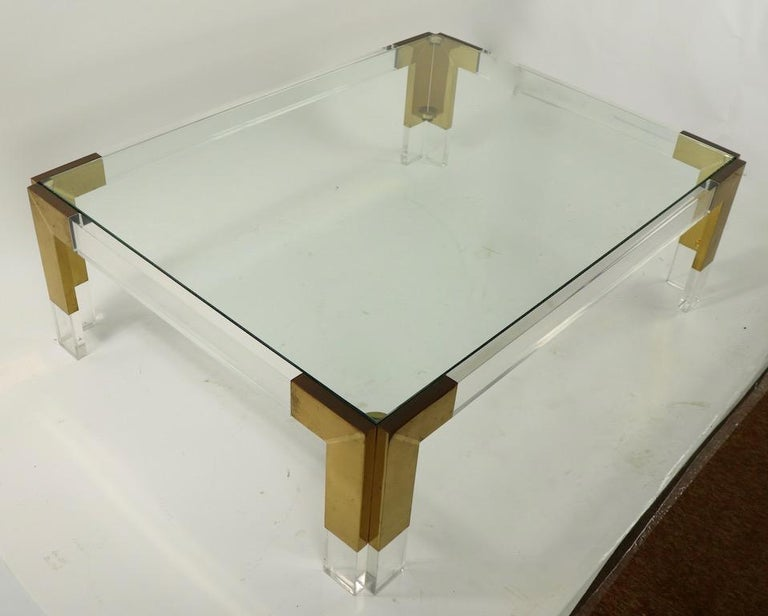 Brass Lucite and Glass Coffee Table after Charles Hollis Jones For Sale 3