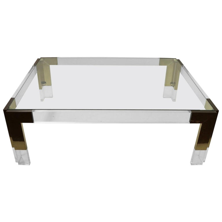 Brass Lucite and Glass Coffee Table after Charles Hollis Jones For Sale