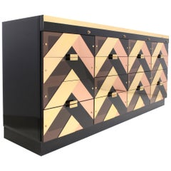 Brass, Lucite and Lacquer Sideboard with 16 Drawers