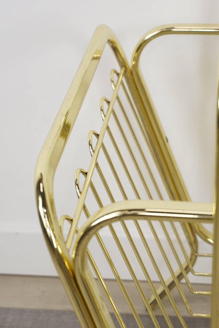 Brass Magazine Rack Hollywood Regency Style For Sale 5