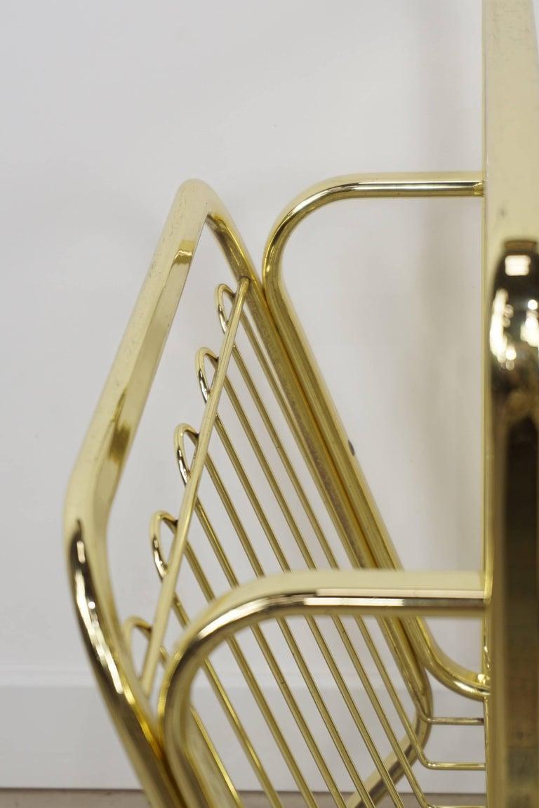 Brass Magazine Rack Hollywood Regency Style For Sale 6