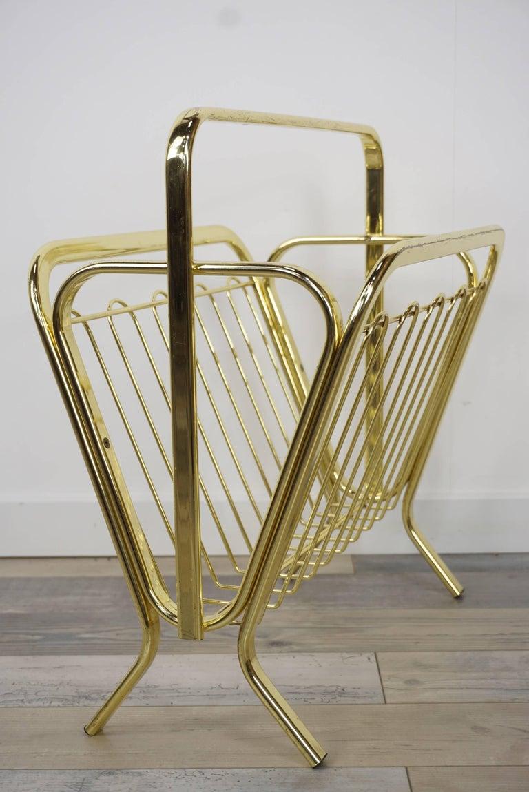 Brass Magazine Rack Hollywood Regency Style For Sale 11