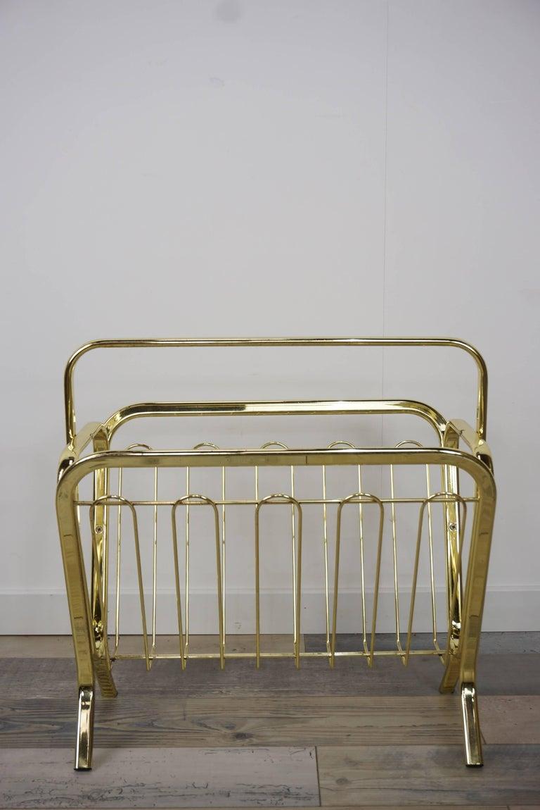 Brass Magazine Rack Hollywood Regency Style For Sale 15