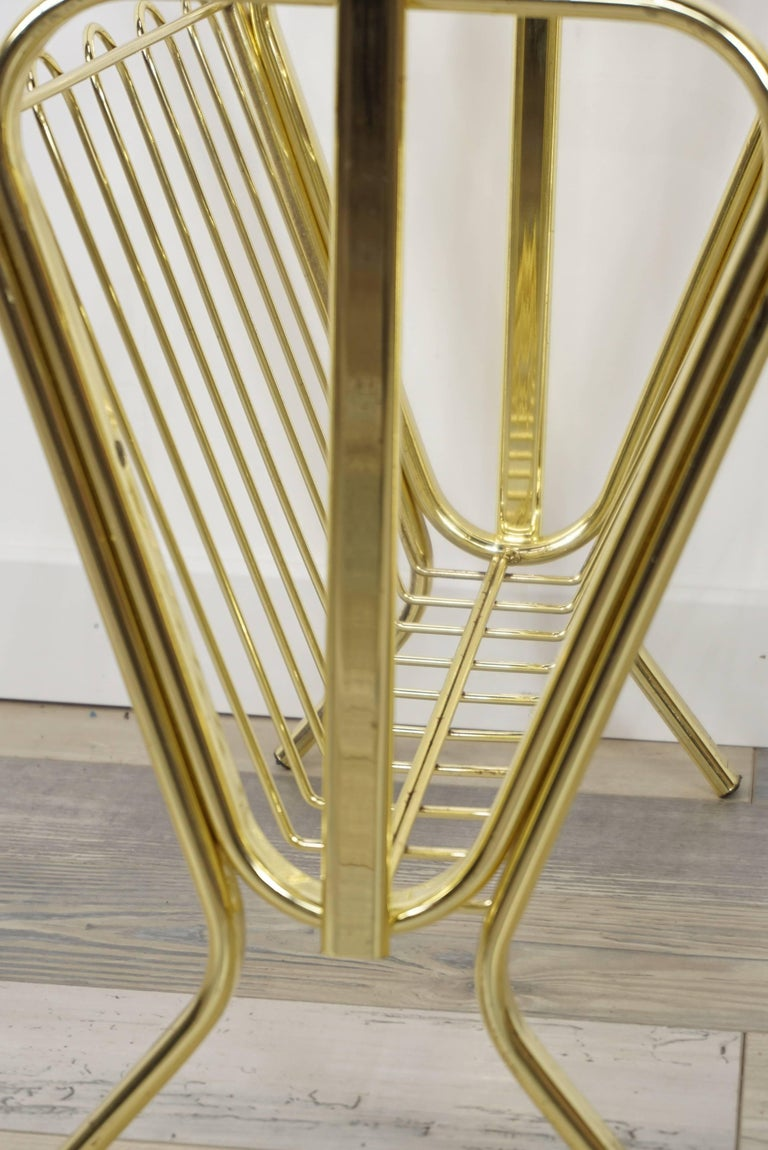 Brass Magazine Rack Hollywood Regency Style For Sale 4
