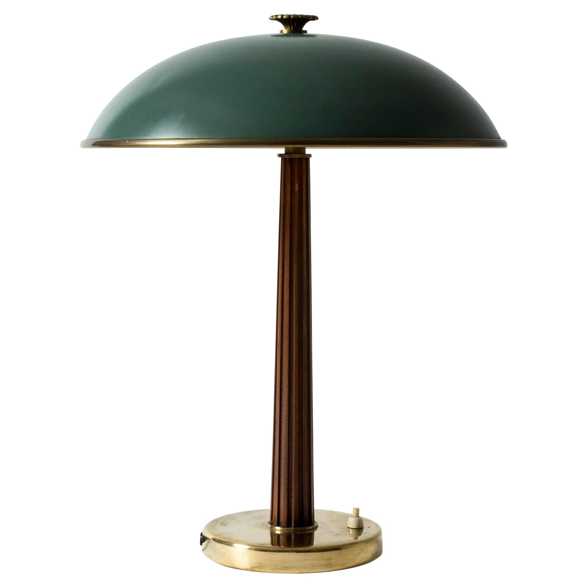 Brass, Mahogany and Lacquer Table Lamp from Nordiska Kompaniet, Sweden, 1940s