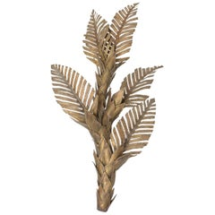 Brass Maison Jansen Palm Tree Wall Sconce