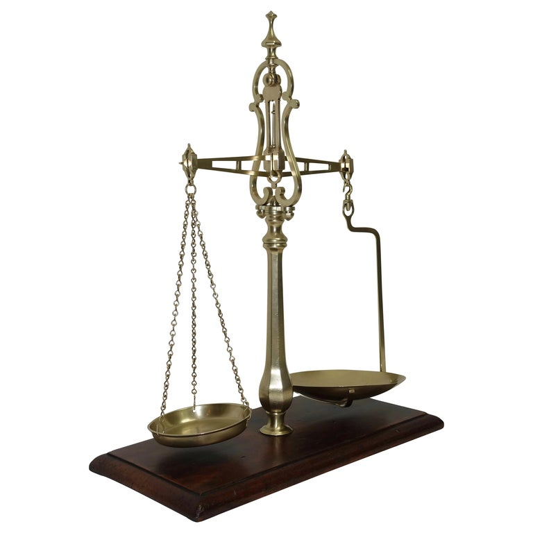 Brass Merchants Scale on Mahogany Base with Weights, English, 19th Century For Sale