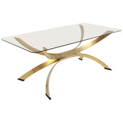 Brass Mid-Century Modern Vintage Coffee Table with a Smoked Glass Top, 1970s