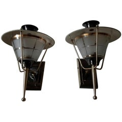 Brass Mid-Century Modern Sconces by Lunel, France, 1950
