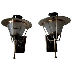 Brass Mid-Century Modern Sconces by Lunel, France, 1950s