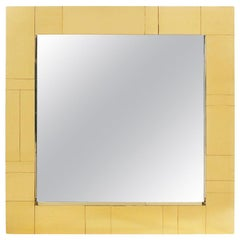 Brass Midcentury Square Cityscape Mirrors in the Style of Paul Evans