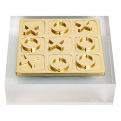 Brass Mid Century Tic Tac Toe Square Game Set on Lucite Base