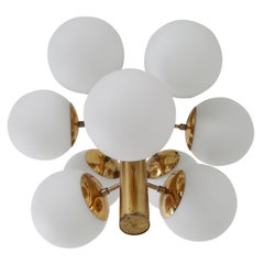 Brass Midcentury Sputnik Chandelier with Nine Handblown Opal Glass Globes