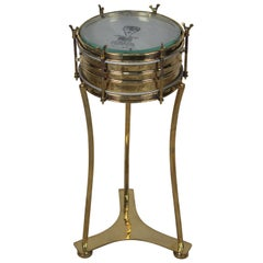 Brass Military or Marching Band Snare Drum Converted to Side Table, Mid-1900s