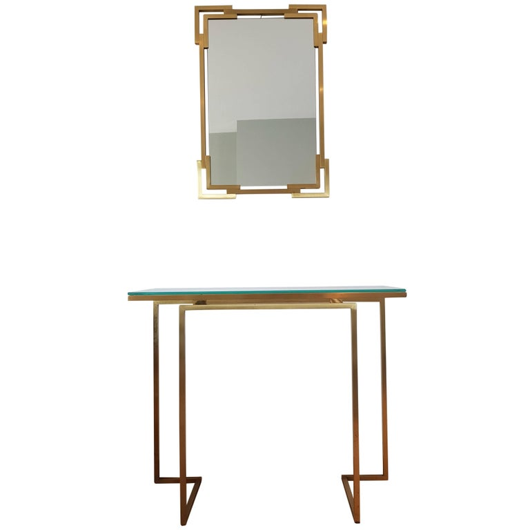 Brass Mirror and Console Table from Guy Lefevre for Maison Jansen