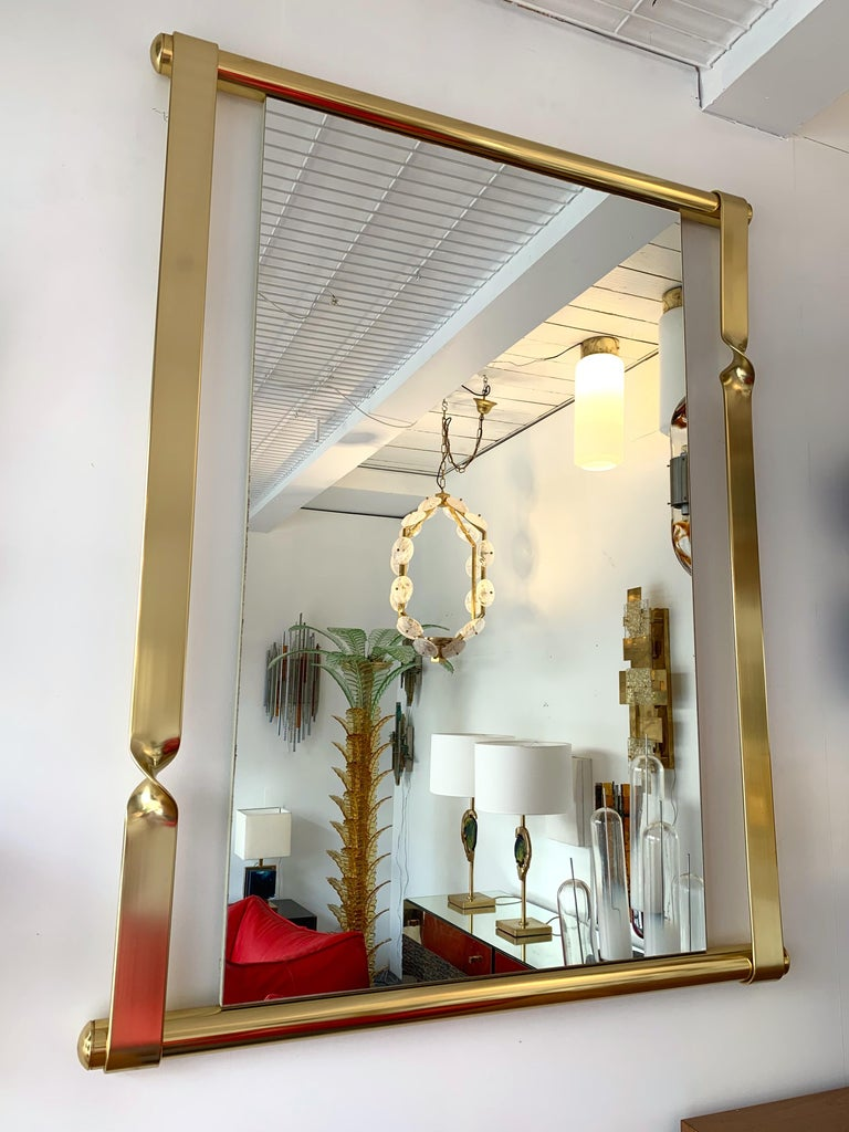 Large brass wall mirror by Luciano Frigerio. Horizontal or vertical. Famous design like Romeo Rega, Tommaso Barbi, Sandro Petti for Maison Jansen, Willy Rizzo, Mario Sabot.
