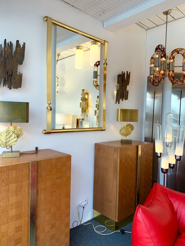 Brass Mirror by Luciano Frigerio, Italy, 1970s For Sale 1