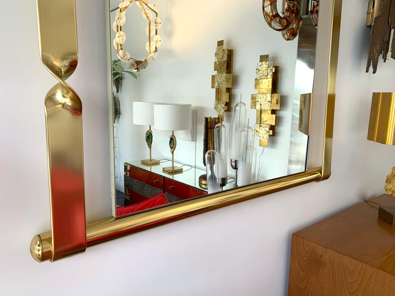 Brass Mirror by Luciano Frigerio, Italy, 1970s For Sale 2