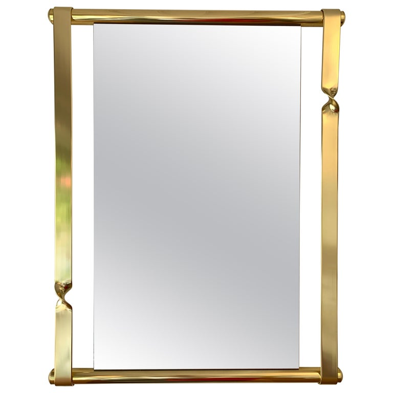 Brass Mirror by Luciano Frigerio, Italy, 1970s For Sale