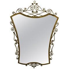 Brass Mirror by Pier Luigi Colli Italy, Midcentury