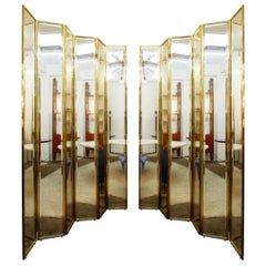 Brass and Mirror Six Panel Folding Floor Screen, Italy