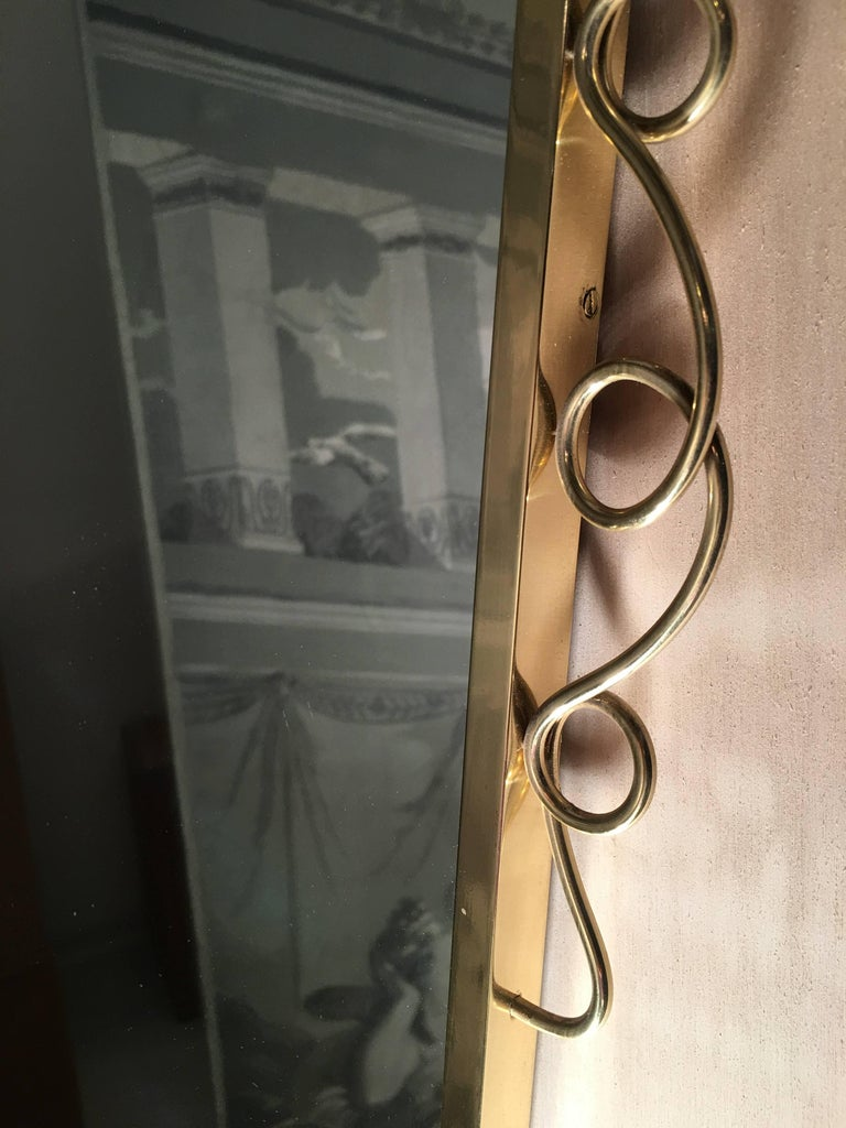 20th Century Brass Mirror with Small Console Table in the Style of Gio Ponti, 1950s For Sale