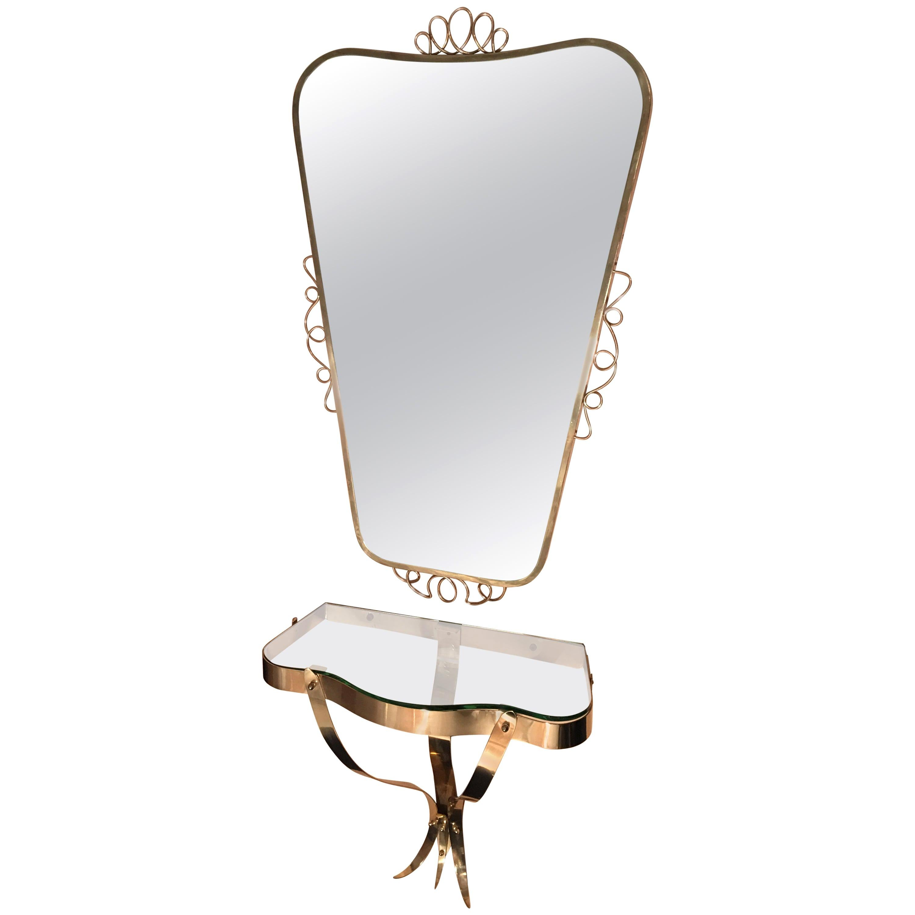Brass Mirror with Small Console Table in the Style of Gio Ponti, 1950s