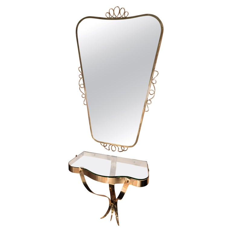 Brass Mirror with Small Console Table in the Style of Gio Ponti, 1950s For Sale