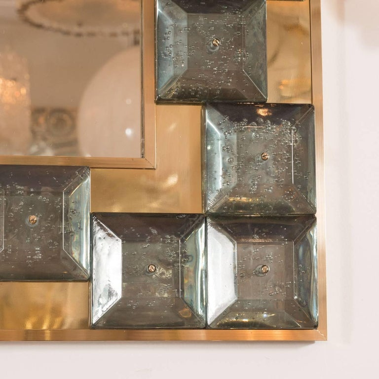 Italian Brass Mirror with Smoked Glass Tile Surround For Sale