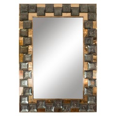 Brass Mirror with Smoked Glass Tile Surround