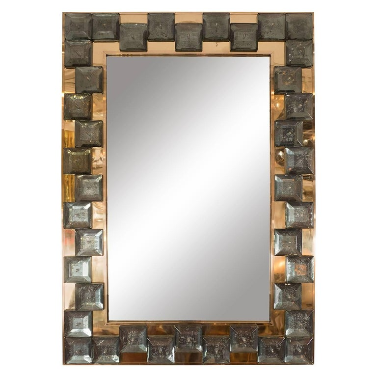 Brass Mirror with Smoked Glass Tile Surround For Sale