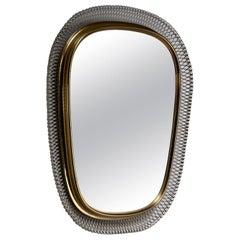 Brass Mirror with White Mesh Metal, Austria, 1950s