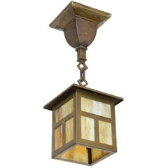 Brass Mission Lantern Pendant with Slag Glass