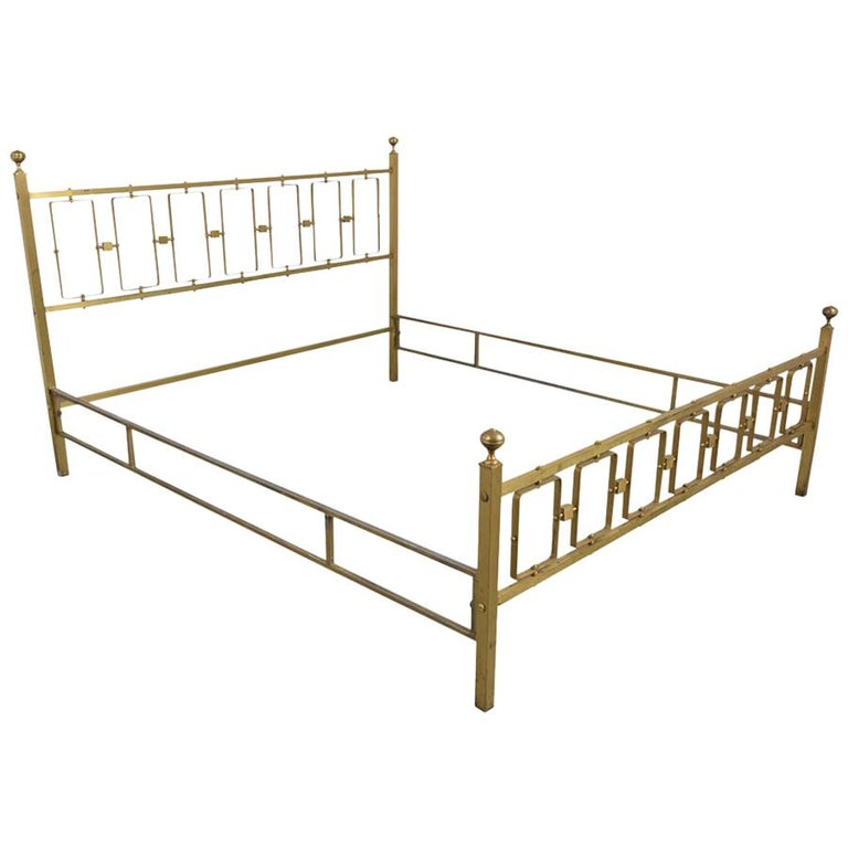 Italian Brass Modern Queen Bed Frame For Sale