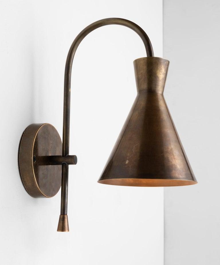 Brass Modern Sconce, Italy, 21st Century  Elegant all brass form with wonderful patina.