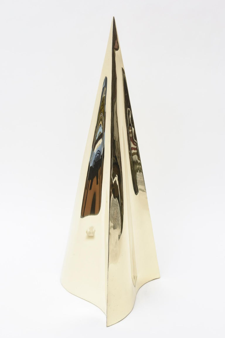 Late 20th Century Brass Triangle Seven Hole Modernist Sculpture Vintage For Sale