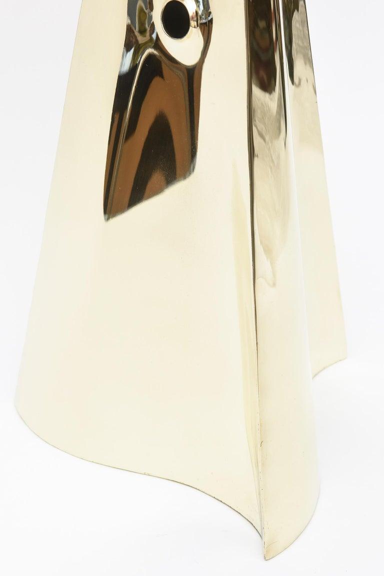 Brass Triangle Seven Hole Modernist Sculpture Vintage For Sale 2
