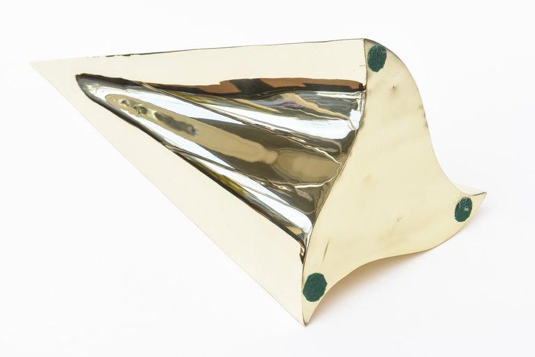 Brass Triangle Seven Hole Modernist Sculpture Vintage For Sale 4