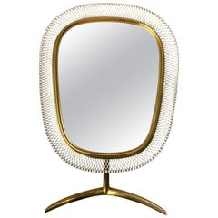 Brass Modernist Vanity Mirror by Vereinigte Werkstätten