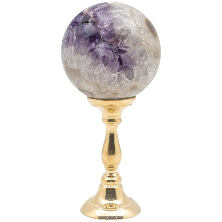 Brass-Mounted Amethyst Sphere Medium For Sale