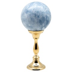 Brass Mounted Blue Calcite Sphere Large