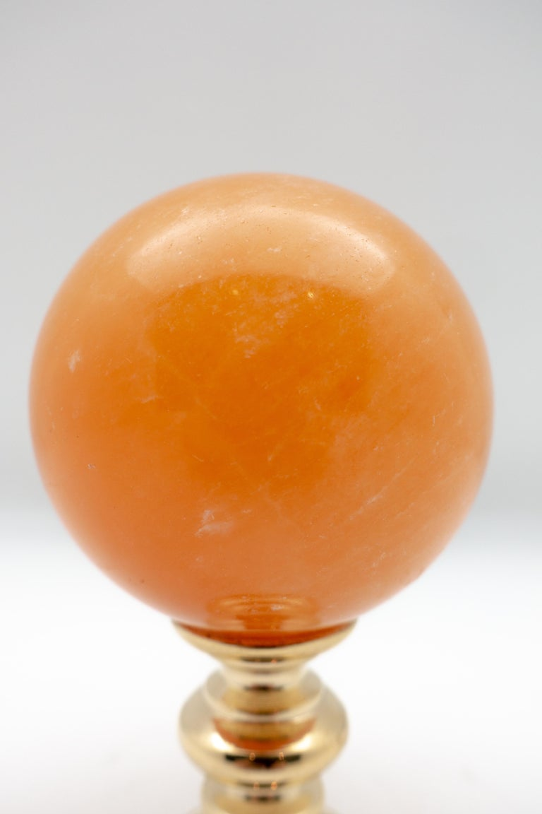 Other Brass Mounted Orange Calcite Sphere Small For Sale